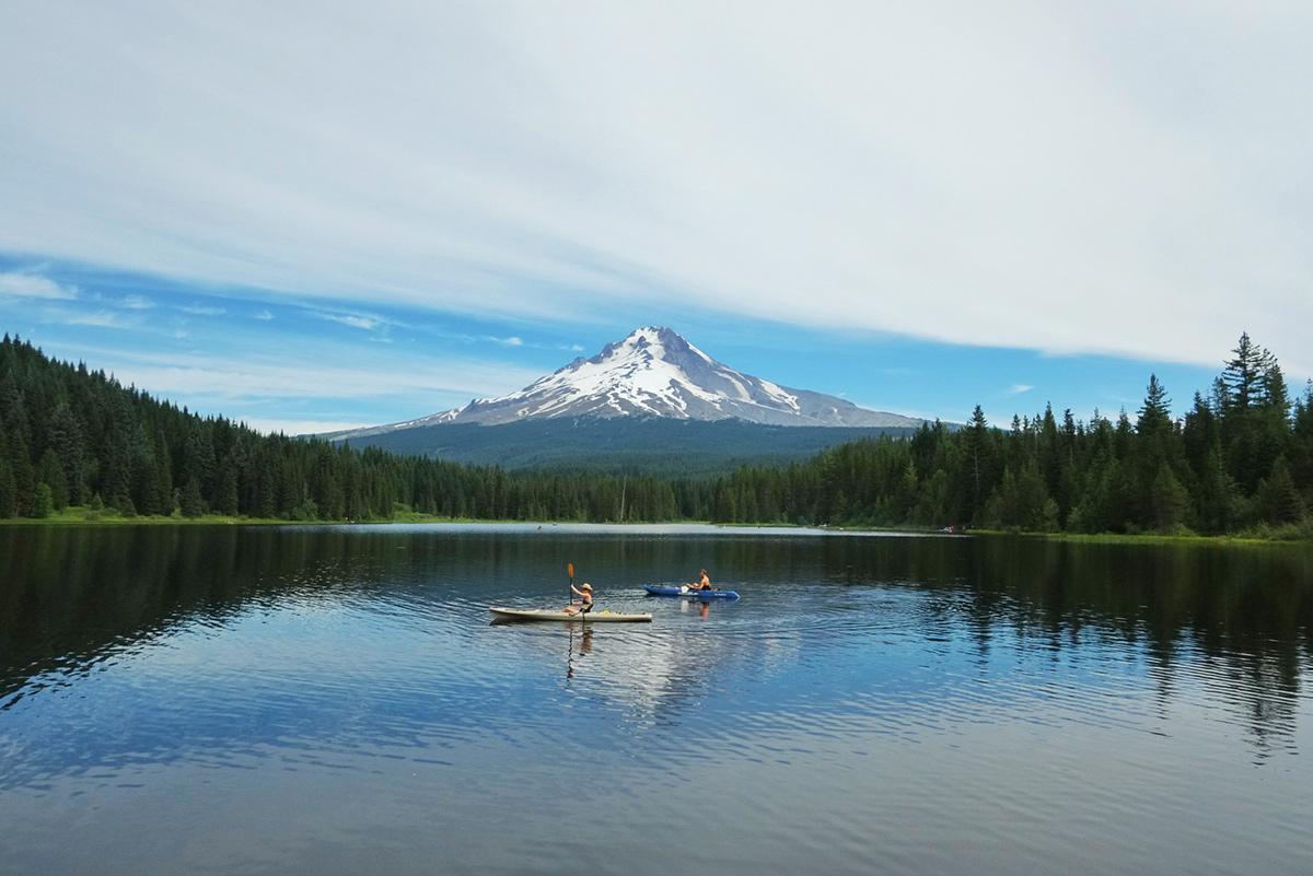 Kayaking on Trillium Lake, Oregon